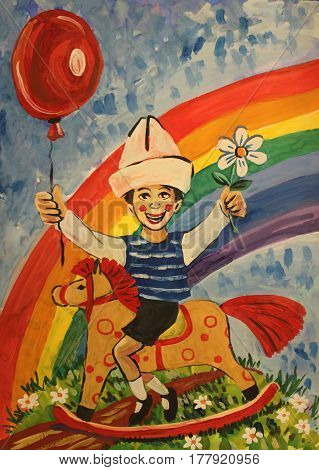Gouache illustration of a boy riding a wooden horse on the meadow with flowers a balloon in his hands and a rainbow in the background