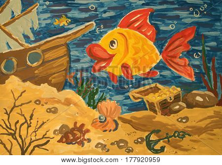 Illustration gouache: the underwater world. Sunken ship with treasure and fish