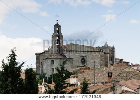 Avila Spain - November 11 2014: Mosen Rubi chapel from The Medieval Walls of Avila. The old city and its extramural churches were declared a World Heritage site by UNESCO