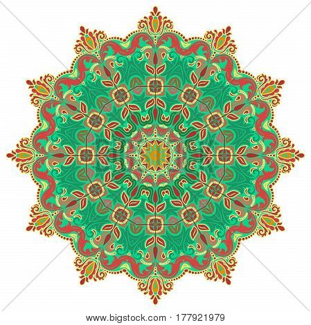 Elegant vector round colorful ornament in classic style. Abstract traditional pattern with oriental elements. Classic vintage pattern