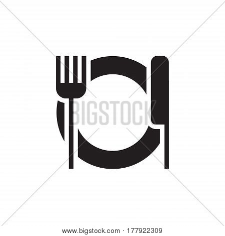Vector icon or illustration showing restoraunt with plate, for and knife in one color