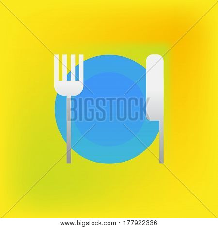 Vector icon or illustration showing restoraunt with plate, for and knife in brutalism style