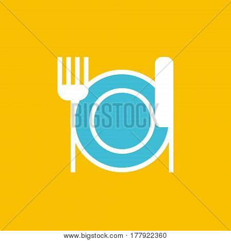 Vector icon or illustration showing restoraunt with plate, for and knife in outline style