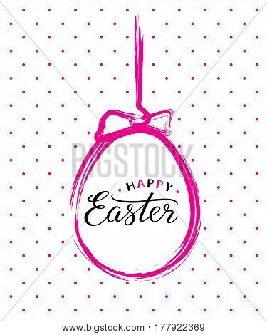 Happy Easter text in pink brush painted easter egg for Paschal greeting card.
