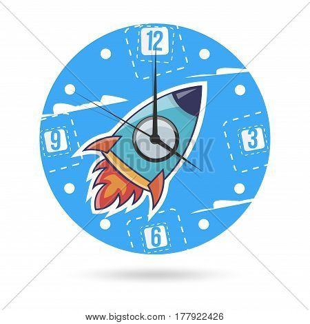 Clock face with a rocket. Kids illustration dial plate.