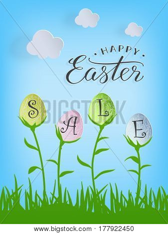 Happy Easter Sale text in easter eggs on nature background for Paschal greeting card. Vector illustration.