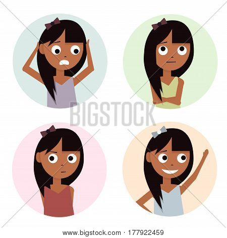 Girls set isolated on white background. Kids characters cartoon.