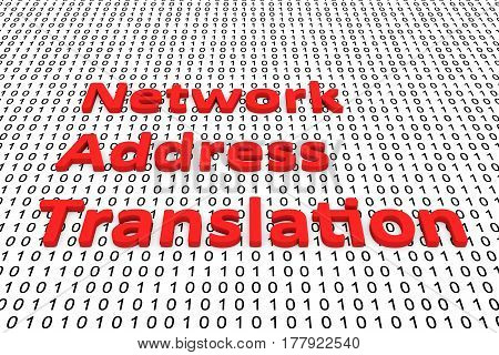 Network Address Translation in the form of binary code, 3D illustration