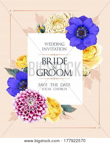 Vector wedding invitation with high detailed flowers