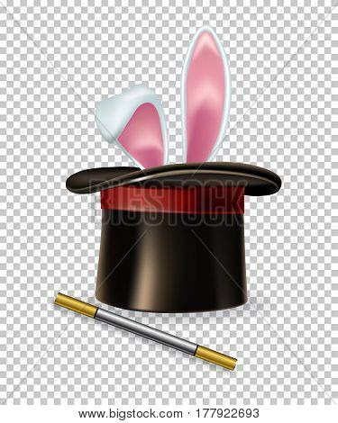 Rabbit ears appear from the magic hat and magic wand isolated on transparent background.