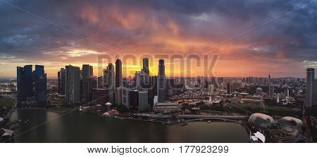 Singapore city, panoramic of central business district CBD marina bay to esplanade at sunset urban modern landscape