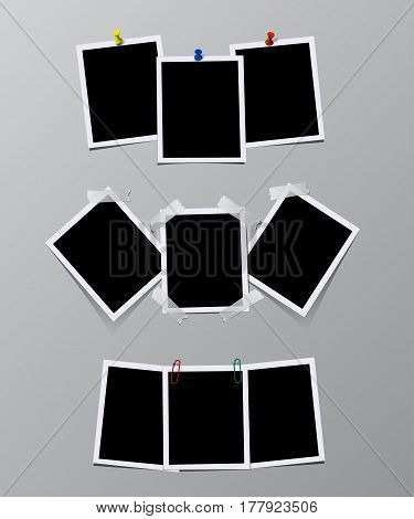 Vector set of vintage photo frames with pins, stickers and clips.