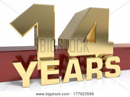 Golden digit fourteen and the word of the year. 3D illustration