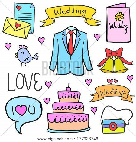 Vector illustration of wedding party doodles collection stock