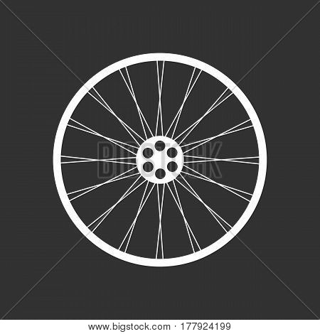 White bicycle wheel on the black background