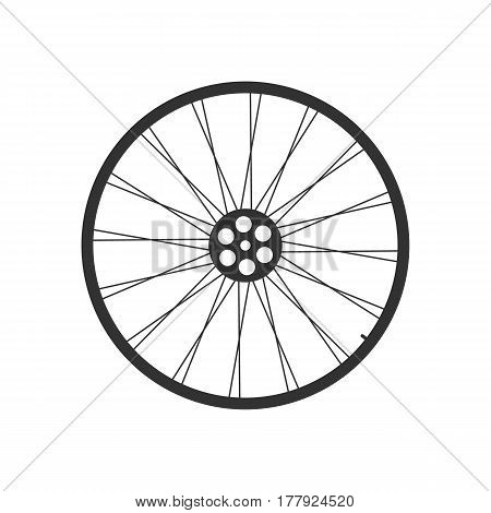 Black bicycle wheel on the white background