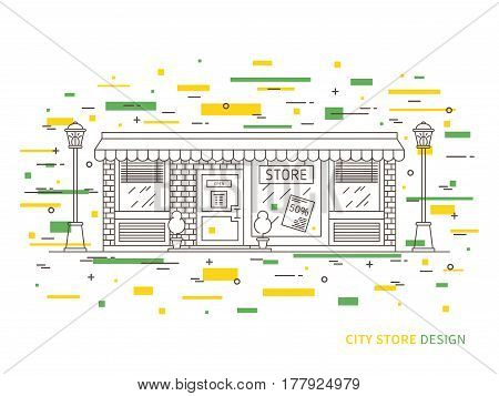 Linear flat exterior design illustration of modern designer store with windows decorative elements. Outline vector graphic concept of shop exterior design.