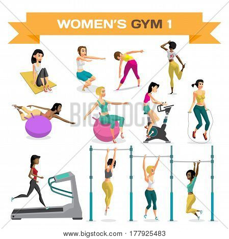 Set of women engaged in exercise in the gym. Part 1. Vector flat cartoon illustration isolated on a white background
