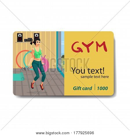 Woman jumping rope in a gym. Sale discount gift card. Branding design to the gym and sports club