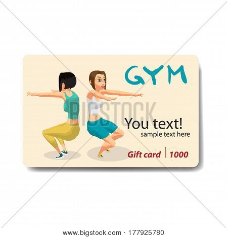 Fitness young women in sportswear performs squats in the gym. Sale discount gift card. Branding design to the gym and sports club
