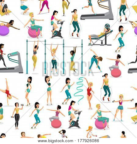 Seamless pattern women doing fitness exercises in the gym. Cartoon style vector  background