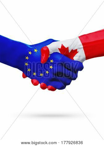 Flags European Union Canada countries handshake cooperation partnership friendship or sports competition concept isolated on white