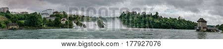Large Panoramic View Of Rhine Falls, Largest Plain Waterfall In Europe