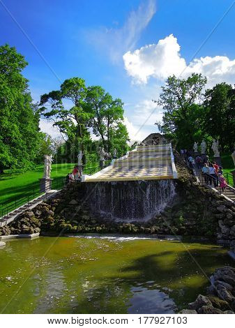 St. Petersburg Russia July 11 2016 a type of chess mountain cascade in the summer season a complex of Peterhof fountains an editorial