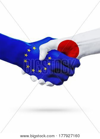 Flags European Union Japan countries handshake cooperation partnership friendship or sports competition concept isolated on white