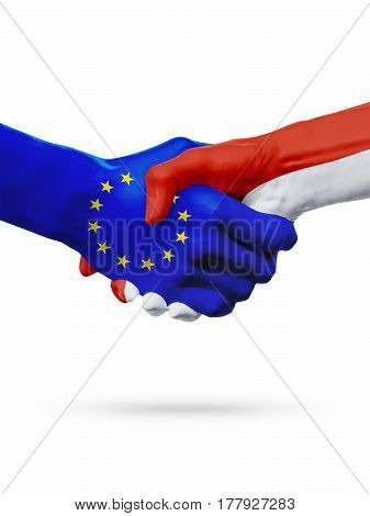 Flags European Union Monaco countries handshake cooperation partnership friendship or sports competition concept isolated on white