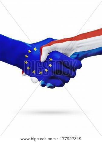 Flags European Union Netherlands countries handshake cooperation partnership friendship or sports competition concept isolated on white