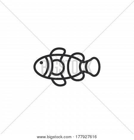 Clown Fish line icon outline vector sign linear pictogram isolated on white. Symbol logo illustration