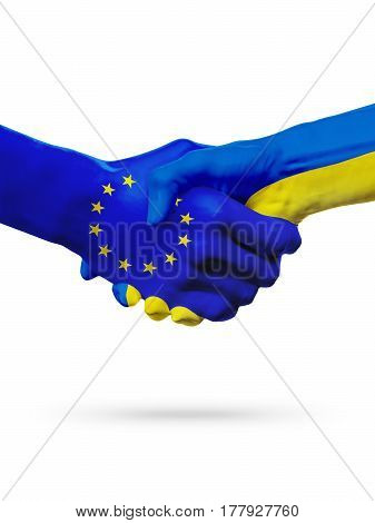 Flags European Union Ukraine countries handshake cooperation partnership friendship or sports competition concept isolated on white