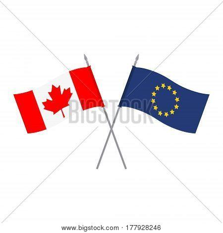 Eu And Canada Flags