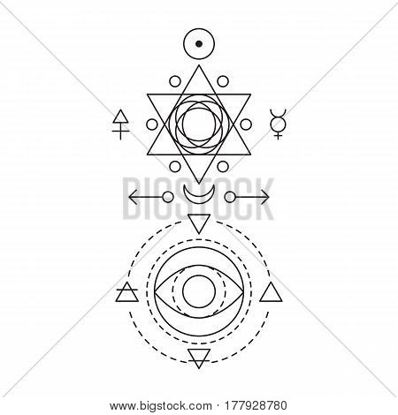Symbol of alchemy and sacred geometry. Linear character illustration for lines tattoo on the white isolated background. Three primes: spirit, soul, body and 4 basic elements: Earth, Water, Air, Fire.