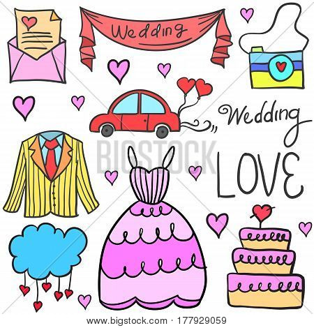 Vector illustartion of wedding party doodles collection stock