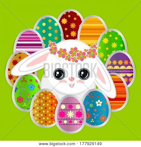 Spring greeting background with Easter eggs and a cute little white bunny. Festive paper images of decorated eggs and rabbit on a green background. Greetings card with the Happy Easter!