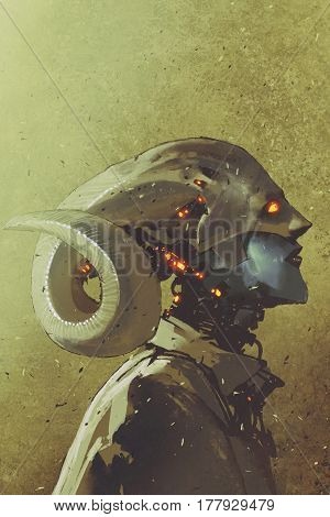 fantasy sci-fi character of human creature with curled horns, illustration painting