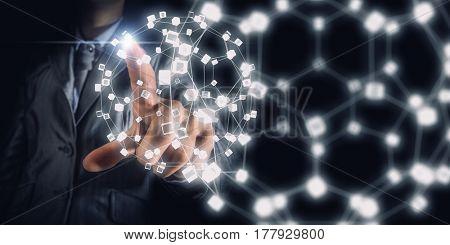 Wireless connection futuristic concept . Mixed media