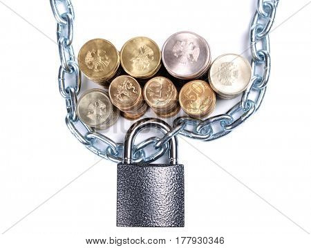 Padlock and stack of coins on a white background