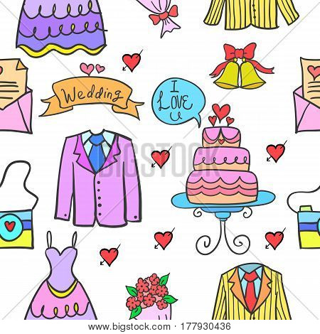 Collection stock of wedding party style doodles vector art
