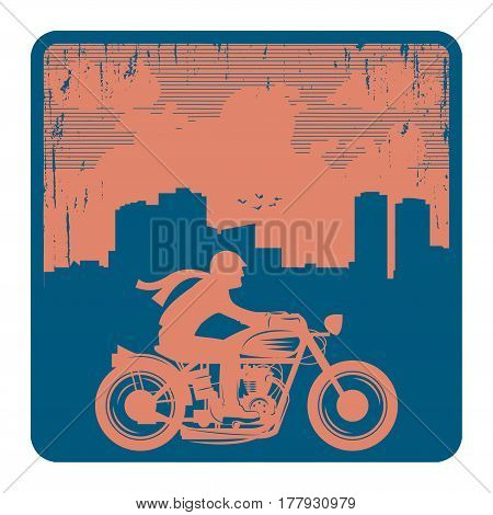 Motorcycle and city skyline. Emblem or sign of bikers club or event. Vector illustration