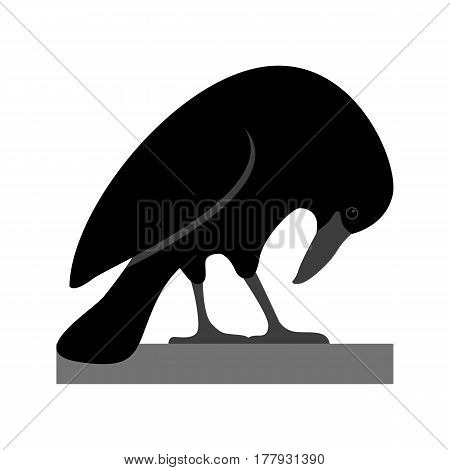 Raven  vector illustration style Flat side profile