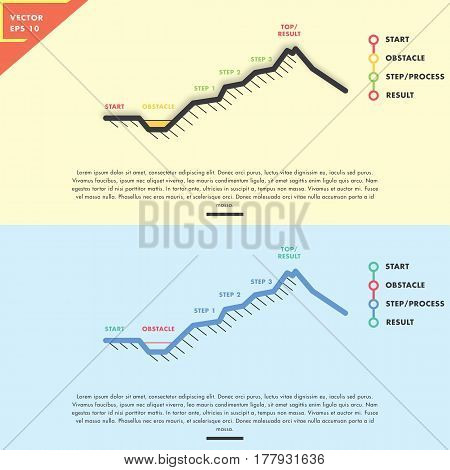 Mountain Infographic analogy with simple line art design, flat design