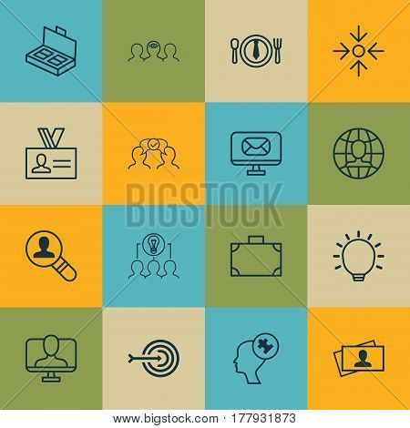 Set Of 16 Business Management Icons. Includes Global Work, Document Suitcase, Coaching And Other Symbols. Beautiful Design Elements.