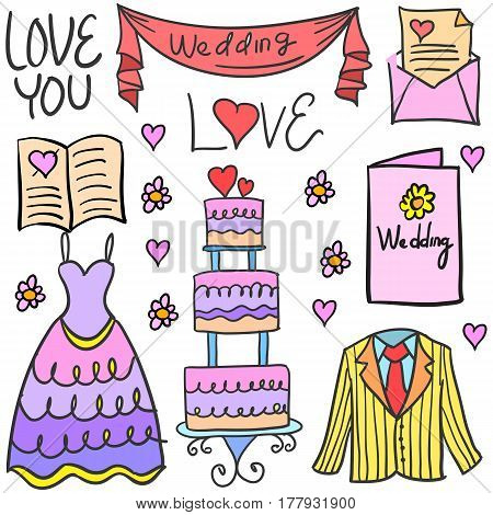 Collection stock of wedding element party vector art