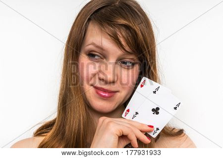 Sexy Woman With Poker Cards