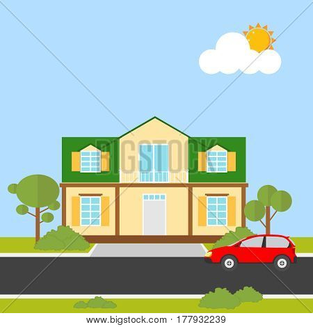 House icon. Flat design vector illustration vector.