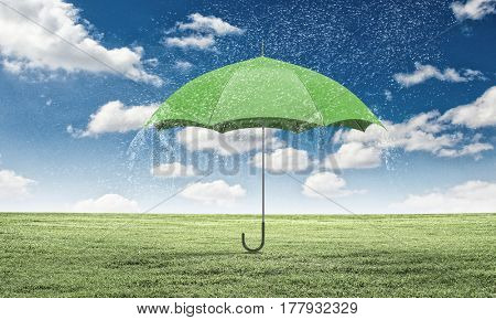 Color umbrella in sky . Mixed media
