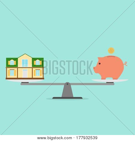 House in exchange for money on the scales. Flat design vector illustration vector.